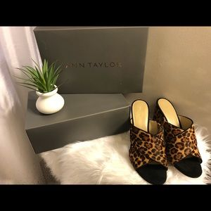 ANN TAYLOR Leopard Mules 9.5